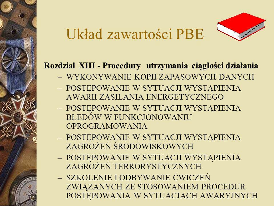 Układ zawartości PBE Rozdział XIII - Procedury utrzymania ciągłości działania – WYKONYWANIE KOPII ZAPASOWYCH DANYCH – POSTĘPOWANIE W SYTUACJI WYSTĄPIE