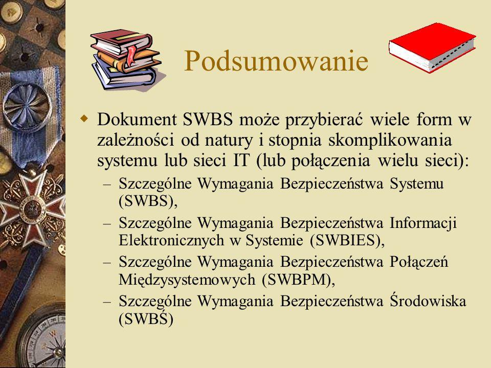 Podsumowanie  Dokument SWBS może przybierać wiele form w zależności od natury i stopnia skomplikowania systemu lub sieci IT (lub połączenia wielu sie