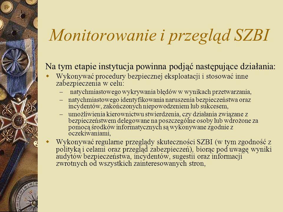 Monitorowanie i przegląd SZBI Na tym etapie instytucja powinna podjąć następujące działania:  Wykonywać procedury bezpiecznej eksploatacji i stosować
