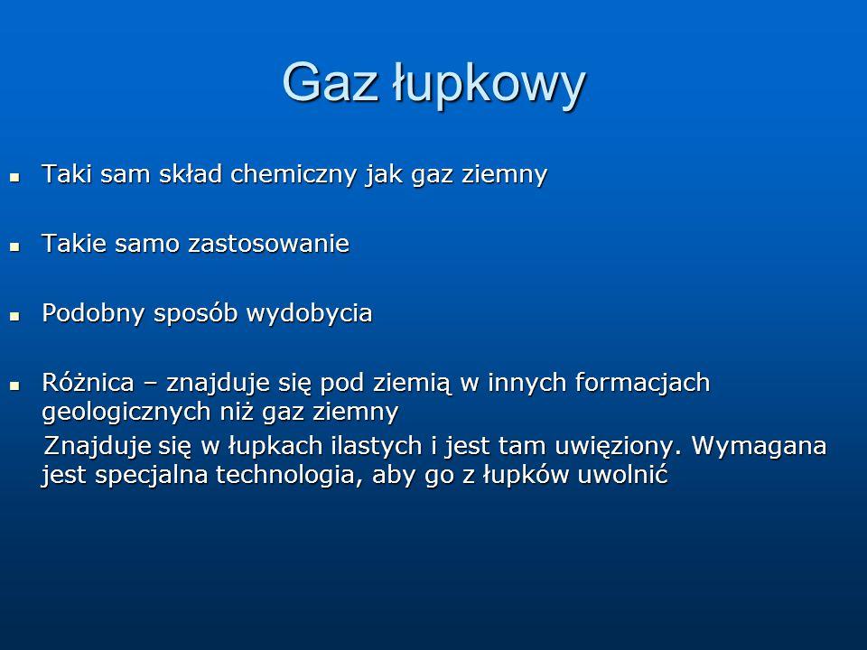 Gaz łupkowy Taki sam skład chemiczny jak gaz ziemny Taki sam skład chemiczny jak gaz ziemny Takie samo zastosowanie Takie samo zastosowanie Podobny sp