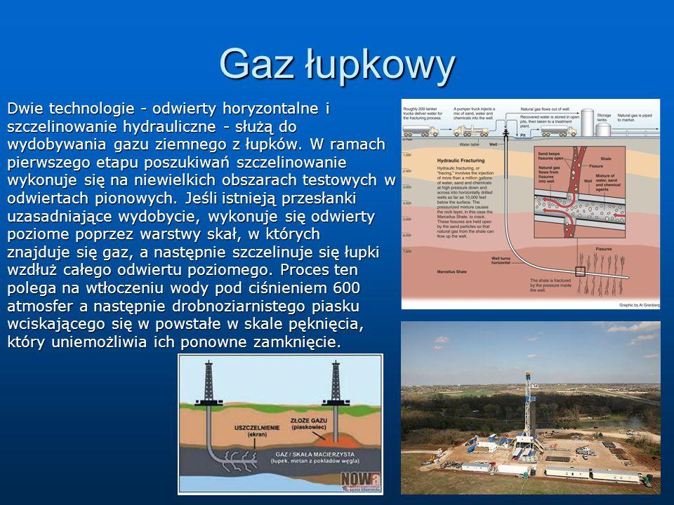 Gaz łupkowy Dwie technologie - odwierty horyzontalne i szczelinowanie hydrauliczne - służą do wydobywania gazu ziemnego z łupków. W ramach pierwszego