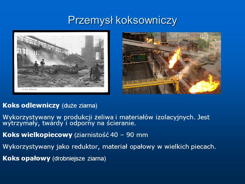 Przemysł koksowniczy Koks odlewniczy (duże ziarna) Wykorzystywany w produkcji żeliwa i materiałów izolacyjnych. Jest wytrzymały, twardy i odporny na ś