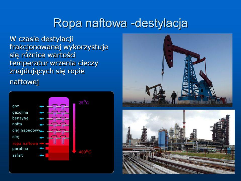 Ropa naftowa -destylacja W czasie destylacji frakcjonowanej wykorzystuje się różnice wartości temperatur wrzenia cieczy znajdujących się ropie naftowe