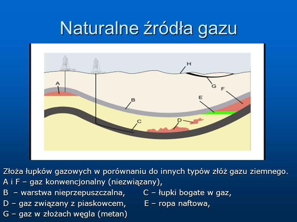 Naturalne źródła gazu Złoża łupków gazowych w porównaniu do innych typów złóż gazu ziemnego. A i F – gaz konwencjonalny (niezwiązany), B – warstwa nie