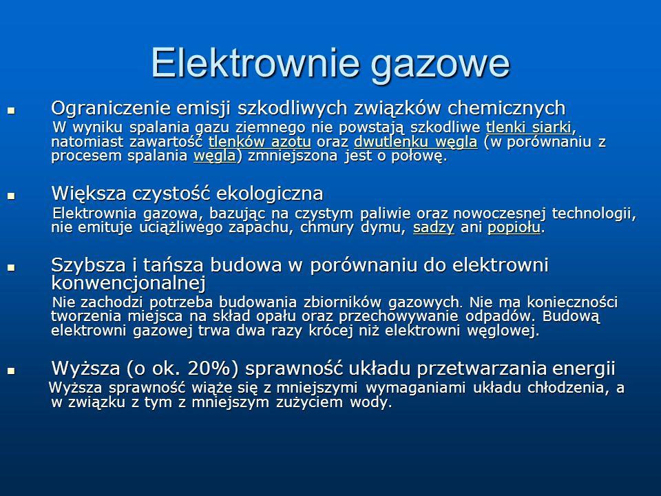 Elektrownie gazowe Ograniczenie emisji szkodliwych związków chemicznych Ograniczenie emisji szkodliwych związków chemicznych W wyniku spalania gazu zi