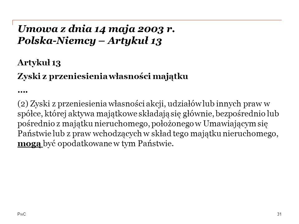 PwC Umowa z dnia 14 maja 2003 r.