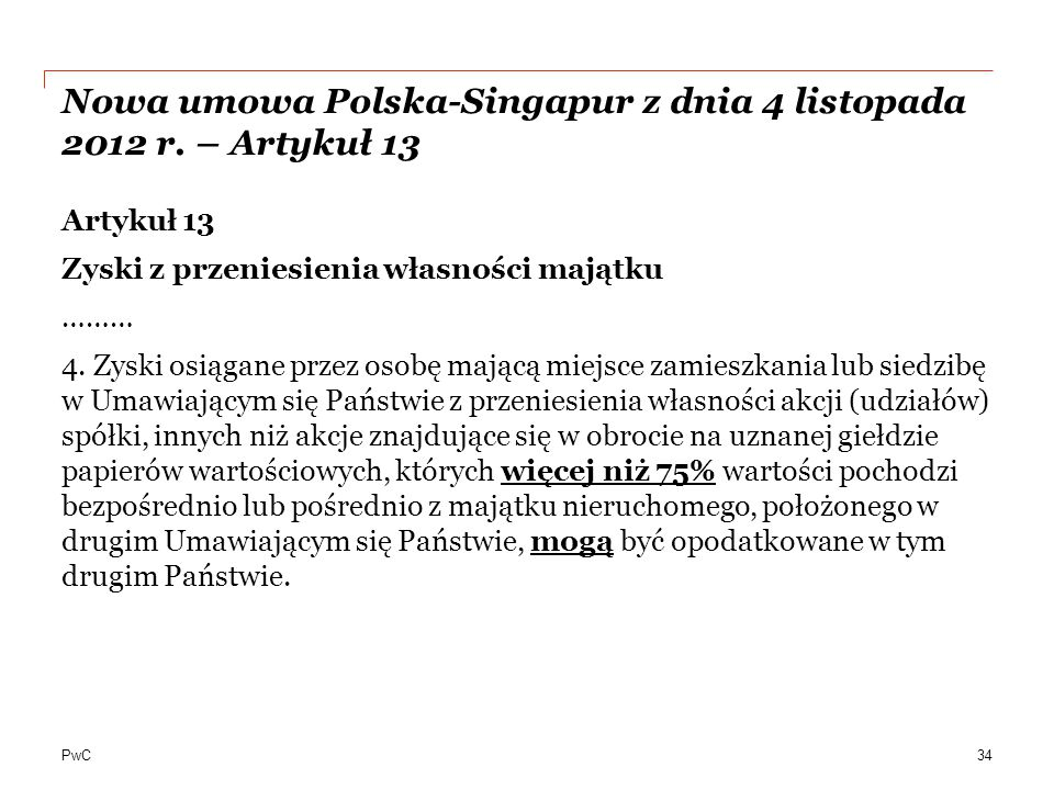 PwC Nowa umowa Polska-Singapur z dnia 4 listopada 2012 r.