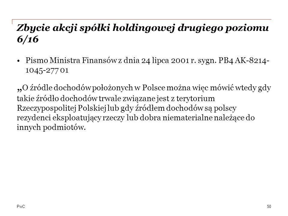 PwC Zbycie akcji spółki holdingowej drugiego poziomu 6/16 Pismo Ministra Finansów z dnia 24 lipca 2001 r.