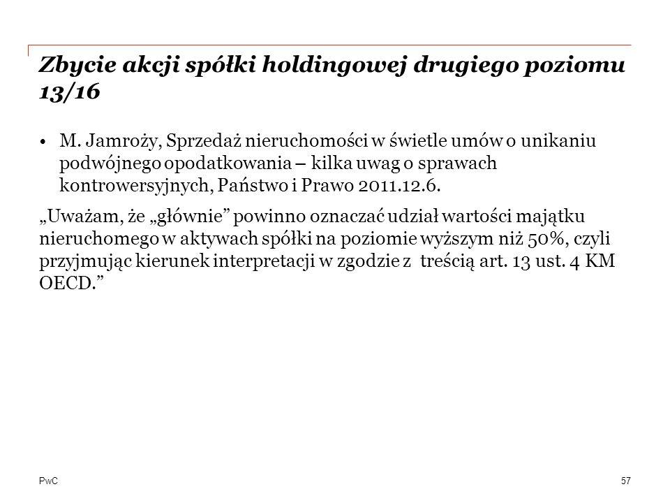 PwC Zbycie akcji spółki holdingowej drugiego poziomu 13/16 M.