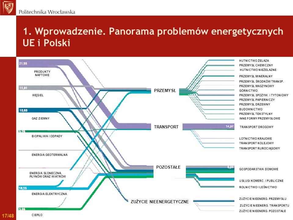 1. Wprowadzenie. Panorama problemów energetycznych UE i Polski PRZEMYSŁ TRANSPORT POZOSTAŁE ZUŻYCIE NIEENERGETYCZNE PRODUKTY NAFTOWE WĘGIEL GAZ ZIEMNY