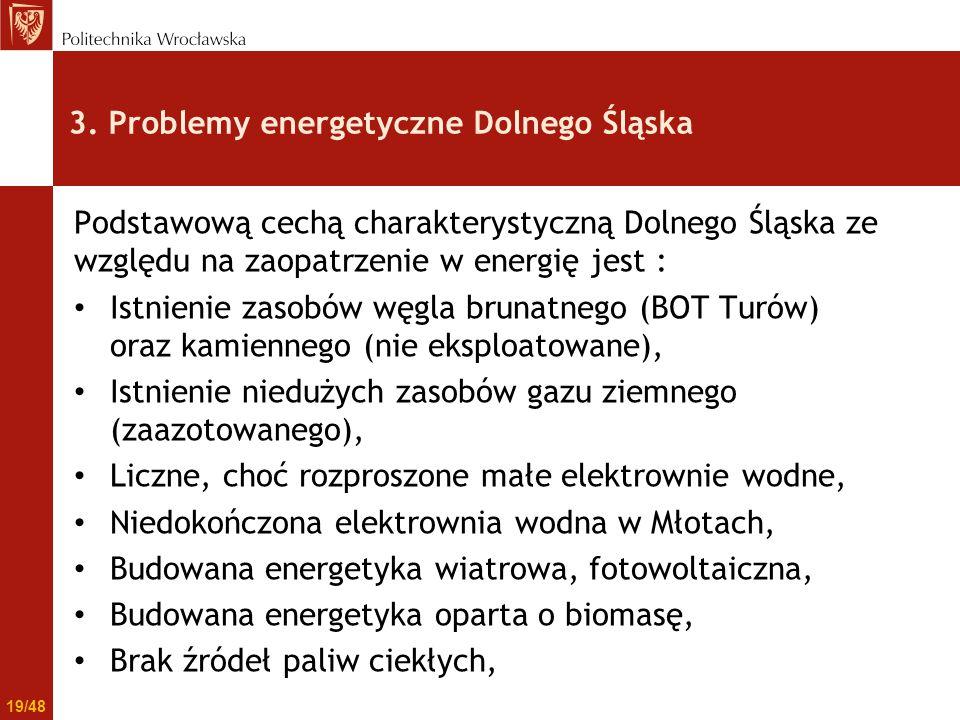 3. Problemy energetyczne Dolnego Śląska Podstawową cechą charakterystyczną Dolnego Śląska ze względu na zaopatrzenie w energię jest : Istnienie zasobó
