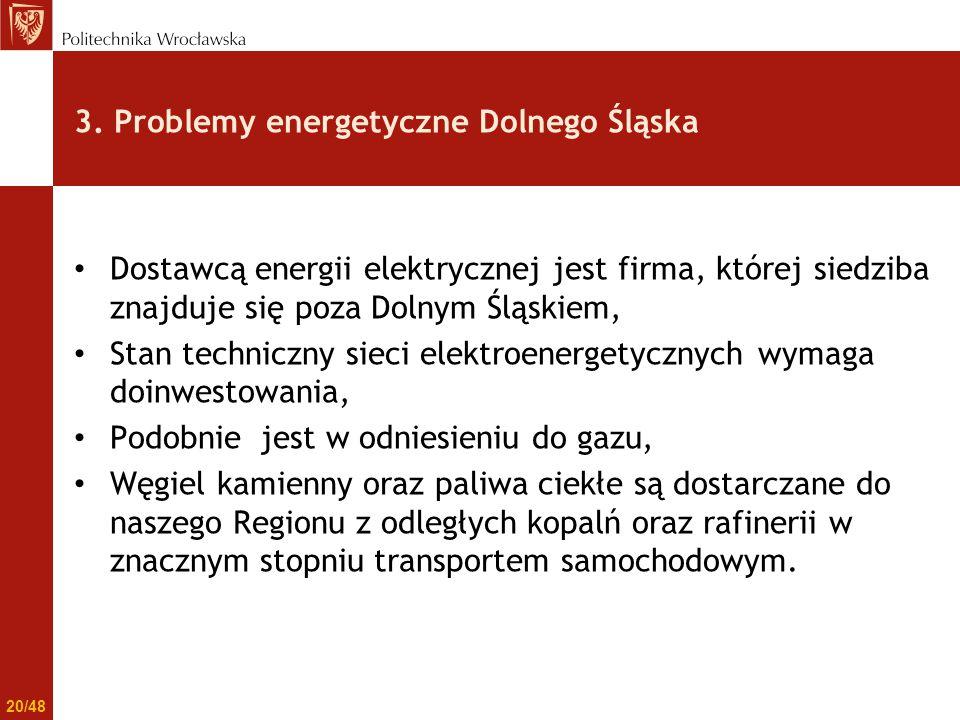 3. Problemy energetyczne Dolnego Śląska Dostawcą energii elektrycznej jest firma, której siedziba znajduje się poza Dolnym Śląskiem, Stan techniczny s