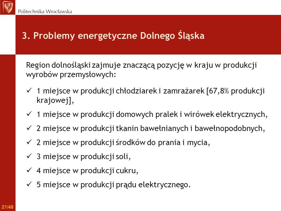3. Problemy energetyczne Dolnego Śląska Region dolnośląski zajmuje znaczącą pozycję w kraju w produkcji wyrobów przemysłowych: 1 miejsce w produkcji c
