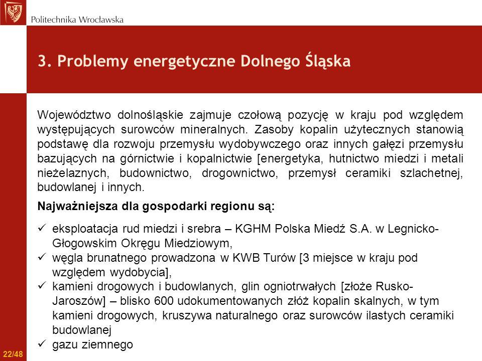 3. Problemy energetyczne Dolnego Śląska Województwo dolnośląskie zajmuje czołową pozycję w kraju pod względem występujących surowców mineralnych. Zaso