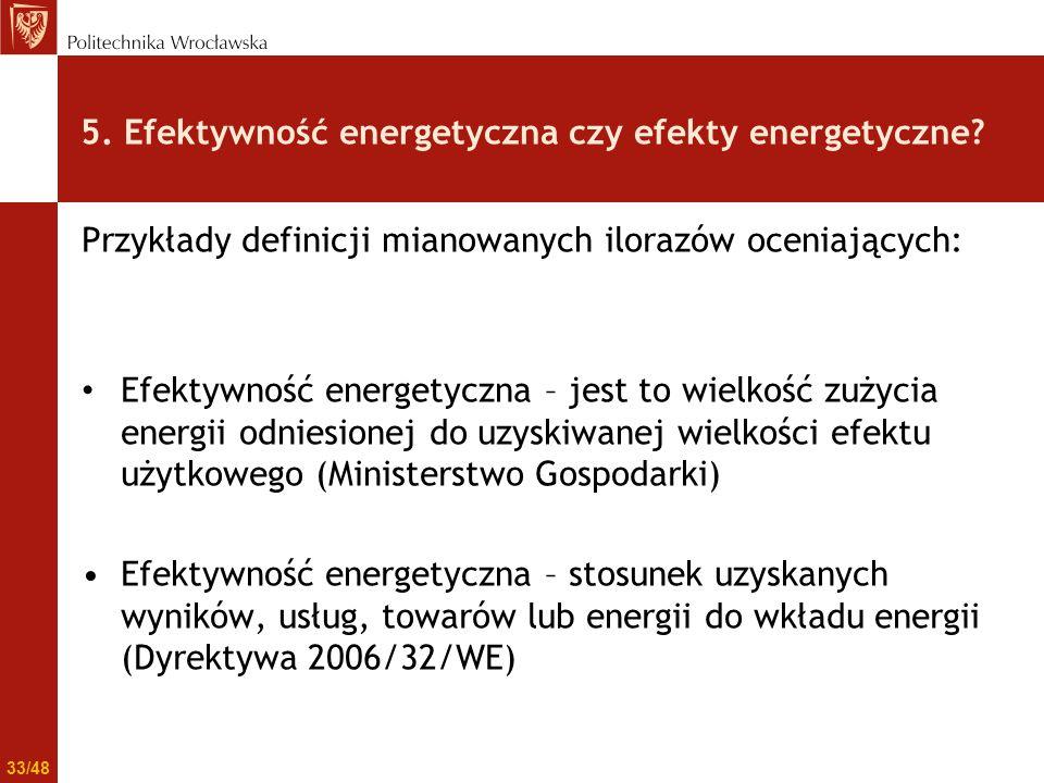 Przykłady definicji mianowanych ilorazów oceniających: Efektywność energetyczna – jest to wielkość zużycia energii odniesionej do uzyskiwanej wielkośc