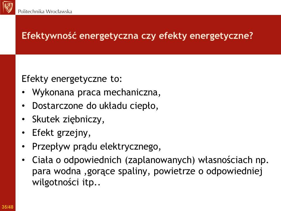 Efektywność energetyczna czy efekty energetyczne? Efekty energetyczne to: Wykonana praca mechaniczna, Dostarczone do układu ciepło, Skutek ziębniczy,