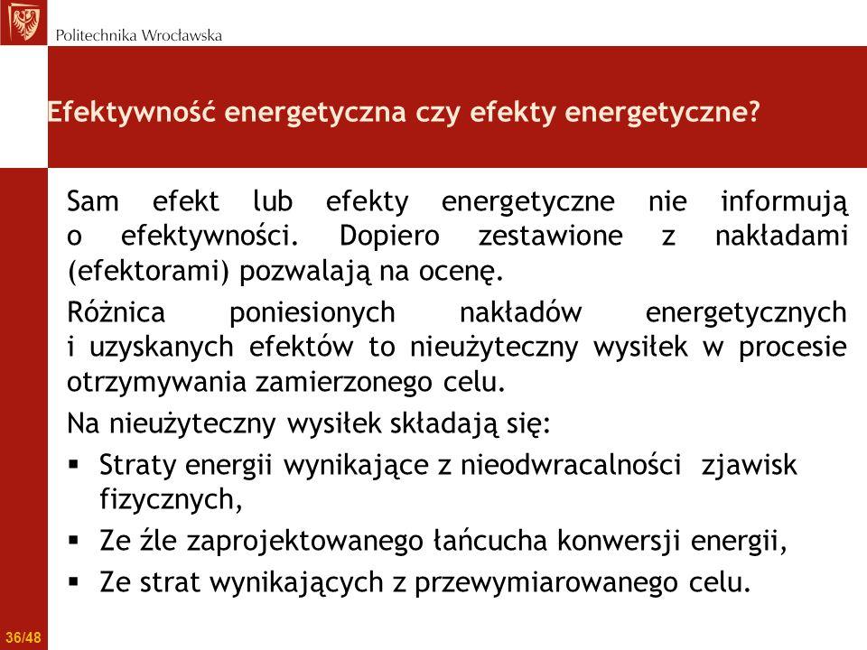 Efektywność energetyczna czy efekty energetyczne? Sam efekt lub efekty energetyczne nie informują o efektywności. Dopiero zestawione z nakładami (efek
