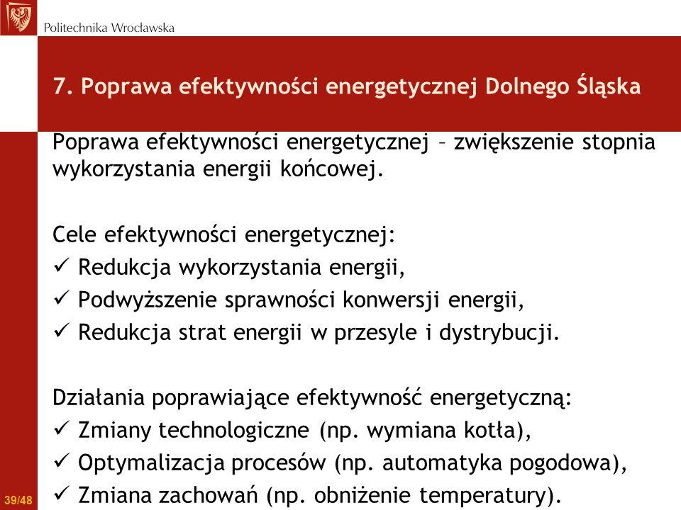 Poprawa efektywności energetycznej – zwiększenie stopnia wykorzystania energii końcowej. Cele efektywności energetycznej: Redukcja wykorzystania energ