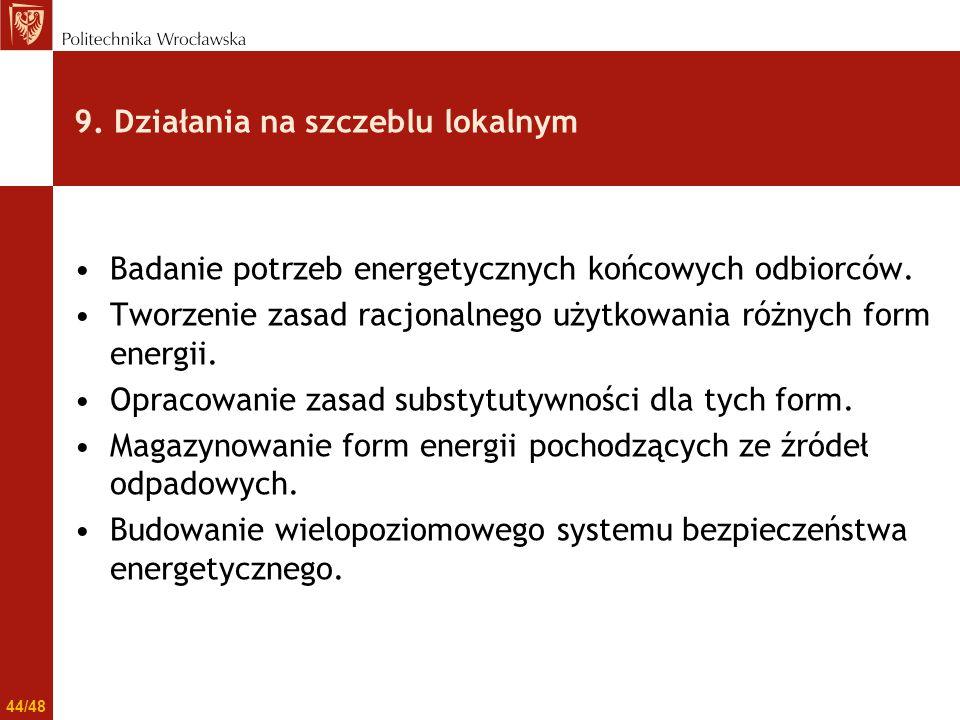 9. Działania na szczeblu lokalnym Badanie potrzeb energetycznych końcowych odbiorców. Tworzenie zasad racjonalnego użytkowania różnych form energii. O