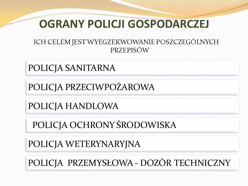 OGRANY POLICJI GOSPODARCZEJ ICH CELEM JEST WYEGZEKWOWANIE POSZCZEGÓLNYCH PRZEPISÓW POLICJA SANITARNAPOLICJA PRZECIWPOŻAROWAPOLICJA HANDLOWA POLICJA OC