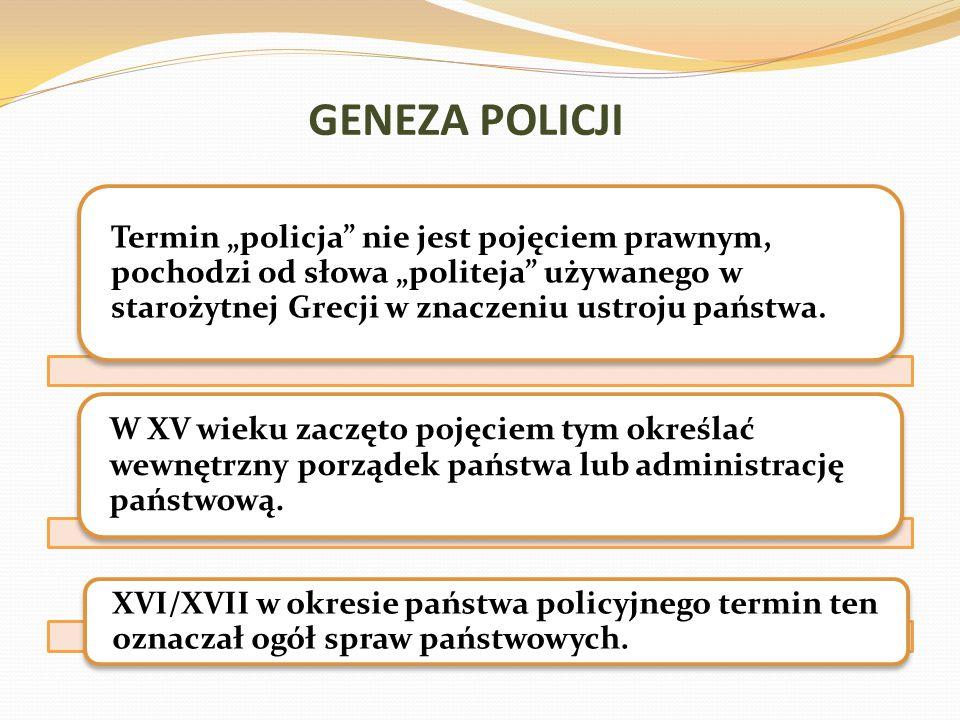 """GENEZA POLICJI Termin """"policja"""" nie jest pojęciem prawnym, pochodzi od słowa """"politeja"""" używanego w starożytnej Grecji w znaczeniu ustroju państwa. W"""