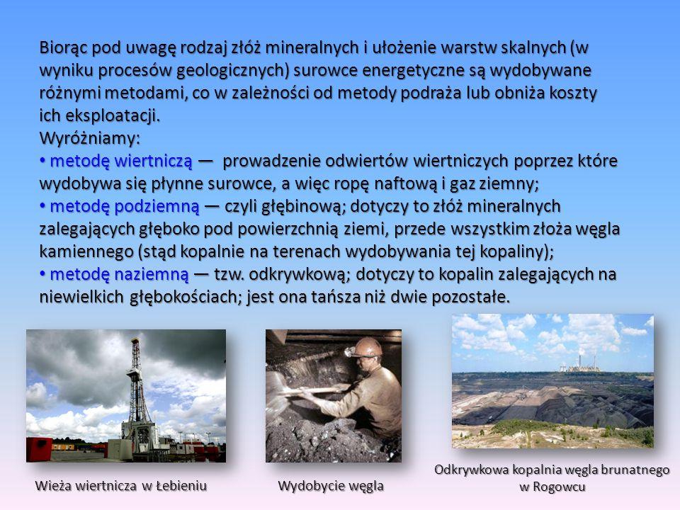 Biorąc pod uwagę rodzaj złóż mineralnych i ułożenie warstw skalnych (w wyniku procesów geologicznych) surowce energetyczne są wydobywane różnymi metod
