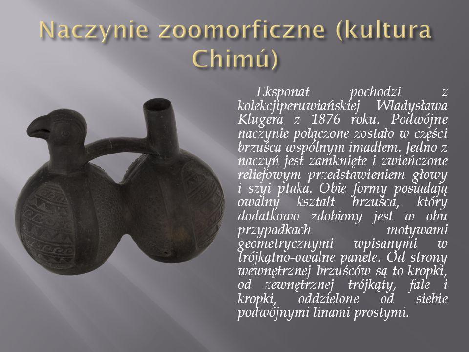 Eksponat pochodzi z kolekcjiperuwiańskiej Władysława Klugera z 1876 roku. Podwójne naczynie połączone zostało w części brzuśca wspólnym imadłem. Jedno