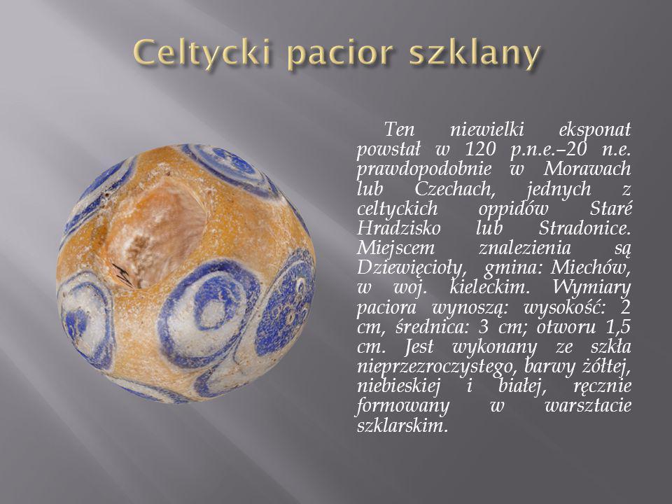 Ten niewielki eksponat powstał w 120 p.n.e.–20 n.e. prawdopodobnie w Morawach lub Czechach, jednych z celtyckich oppidów Staré Hradzisko lub Stradonic