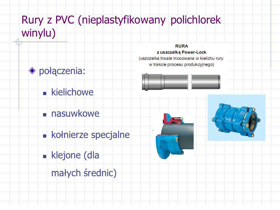 Rury z PVC (nieplastyfikowany polichlorek winylu) połączenia: kielichowe nasuwkowe kołnierze specjalne klejone (dla małych średnic)