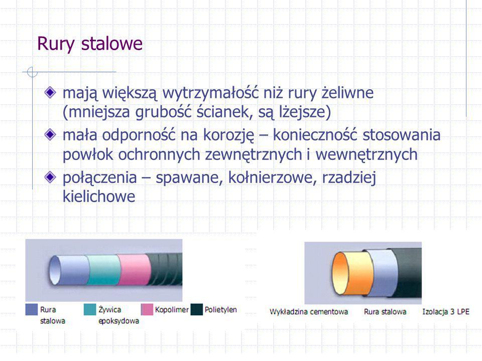 Rury stalowe mają większą wytrzymałość niż rury żeliwne (mniejsza grubość ścianek, są lżejsze) mała odporność na korozję – konieczność stosowania powł