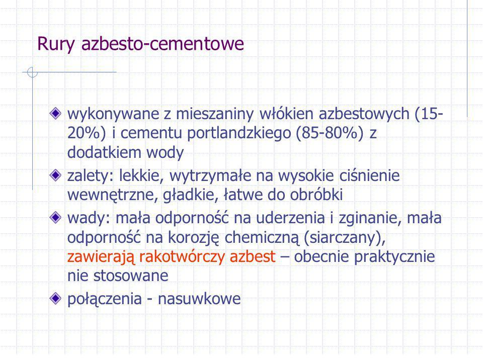 Rury azbesto-cementowe wykonywane z mieszaniny włókien azbestowych (15- 20%) i cementu portlandzkiego (85-80%) z dodatkiem wody zalety: lekkie, wytrzy