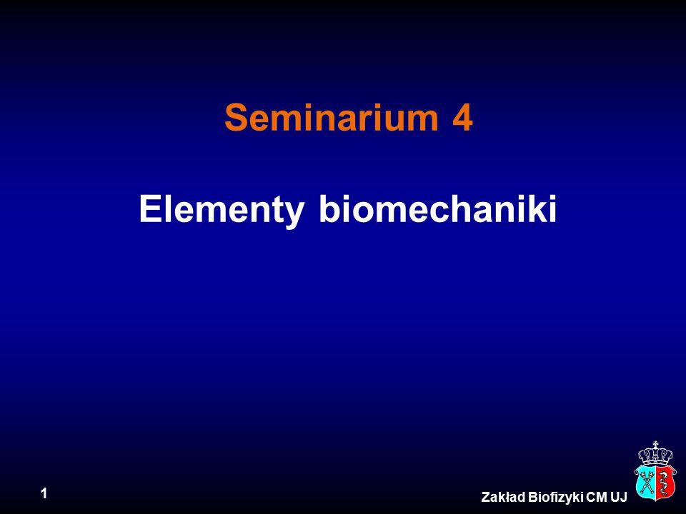 1 Zakład Biofizyki CM UJ Seminarium 4 Elementy biomechaniki