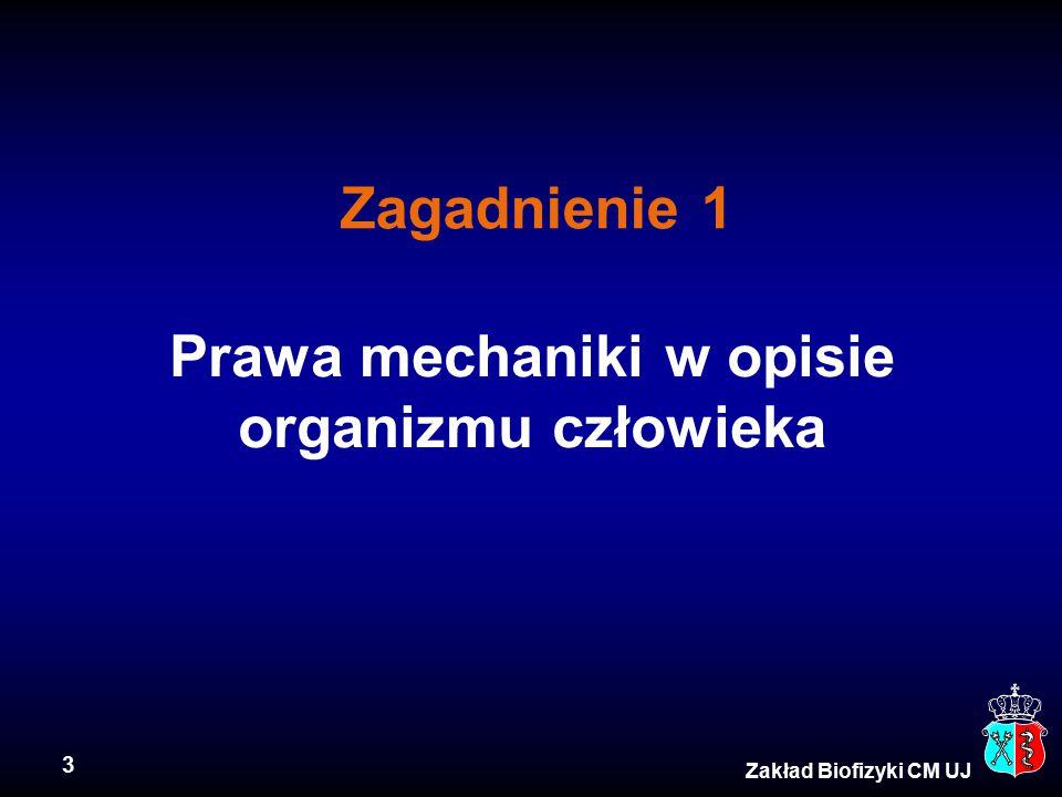 3 Zakład Biofizyki CM UJ Prawa mechaniki w opisie organizmu człowieka Zagadnienie 1