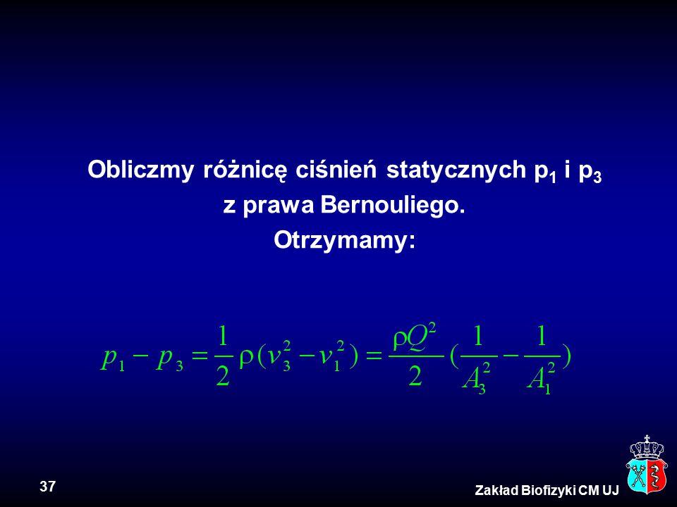37 Zakład Biofizyki CM UJ Obliczmy różnicę ciśnień statycznych p 1 i p 3 z prawa Bernouliego. Otrzymamy: