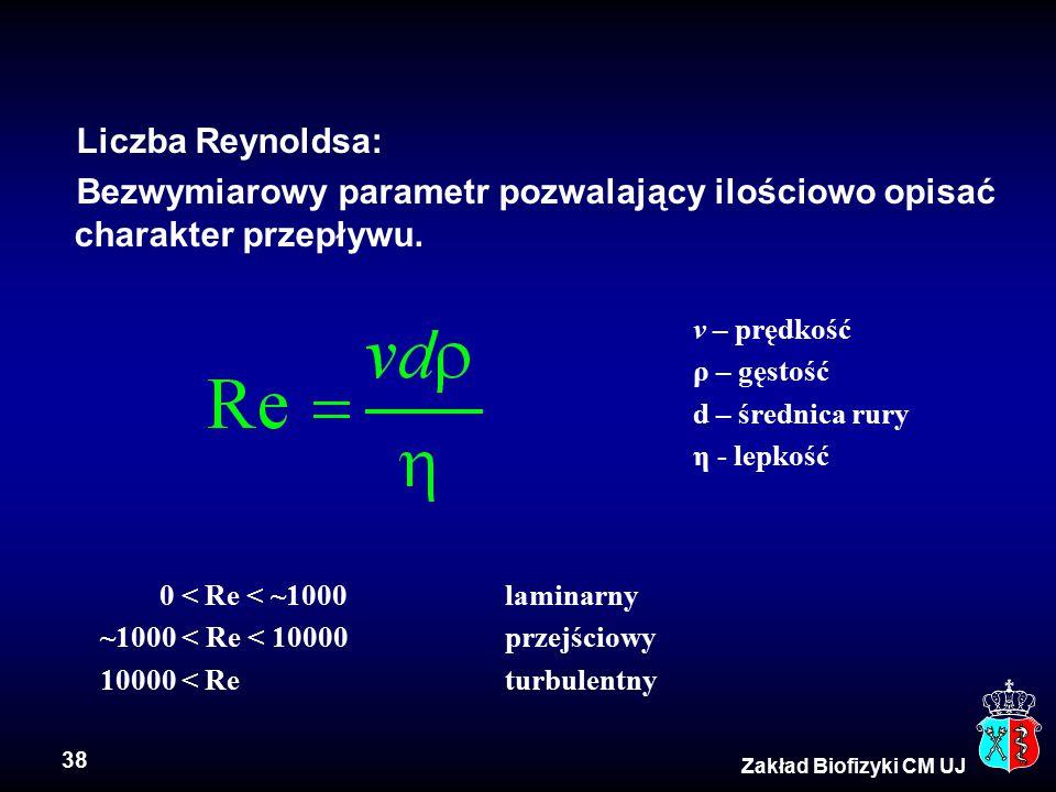 38 Zakład Biofizyki CM UJ Liczba Reynoldsa: Bezwymiarowy parametr pozwalający ilościowo opisać charakter przepływu. v – prędkość ρ – gęstość d – średn