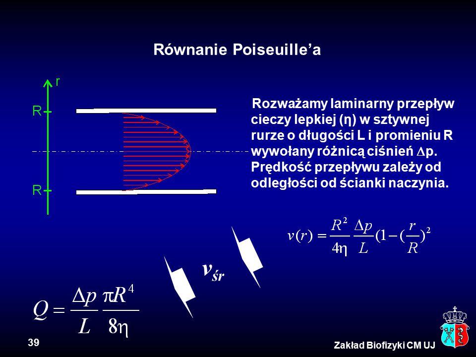 39 Zakład Biofizyki CM UJ Równanie Poiseuille'a Rozważamy laminarny przepływ cieczy lepkiej (η) w sztywnej rurze o długości L i promieniu R wywołany r
