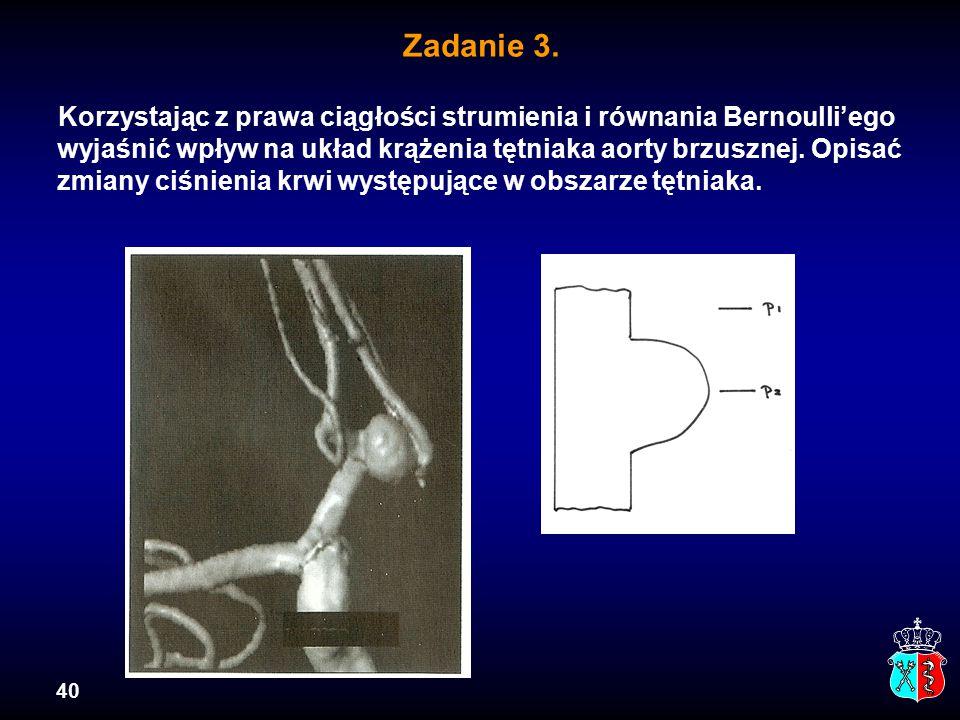 40 Zadanie 3. Korzystając z prawa ciągłości strumienia i równania Bernoulli'ego wyjaśnić wpływ na układ krążenia tętniaka aorty brzusznej. Opisać zmia