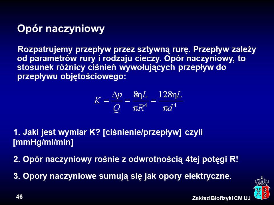 46 Zakład Biofizyki CM UJ Opór naczyniowy Rozpatrujemy przepływ przez sztywną rurę. Przepływ zależy od parametrów rury i rodzaju cieczy. Opór naczynio