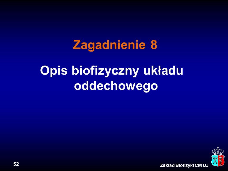 52 Zakład Biofizyki CM UJ Opis biofizyczny układu oddechowego Zagadnienie 8