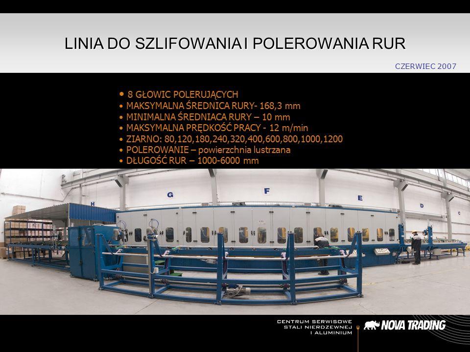 LINIA DO SZLIFOWANIA I POLEROWANIA RUR 8 GŁOWIC POLERUJĄCYCH MAKSYMALNA ŚREDNICA RURY- 168,3 mm MINIMALNA ŚREDNIACA RURY – 10 mm MAKSYMALNA PRĘDKOŚĆ P