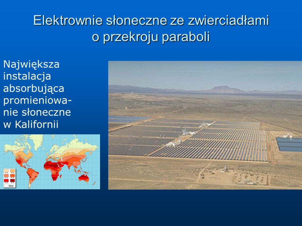 Elektrownie słoneczne ze zwierciadłami o przekroju paraboli Największa instalacja absorbująca promieniowa- nie słoneczne w Kalifornii