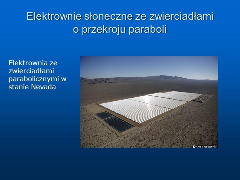 Elektrownie słoneczne ze zwierciadłami o przekroju paraboli Elektrownia ze zwierciadłami parabolicznymi w stanie Nevada