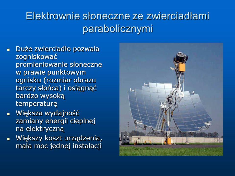 Elektrownie słoneczne ze zwierciadłami parabolicznymi Duże zwierciadło pozwala zogniskować promieniowanie słoneczne w prawie punktowym ognisku (rozmia