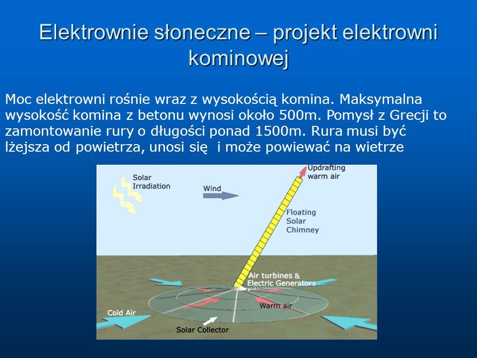Elektrownie słoneczne – projekt elektrowni kominowej Moc elektrowni rośnie wraz z wysokością komina. Maksymalna wysokość komina z betonu wynosi około