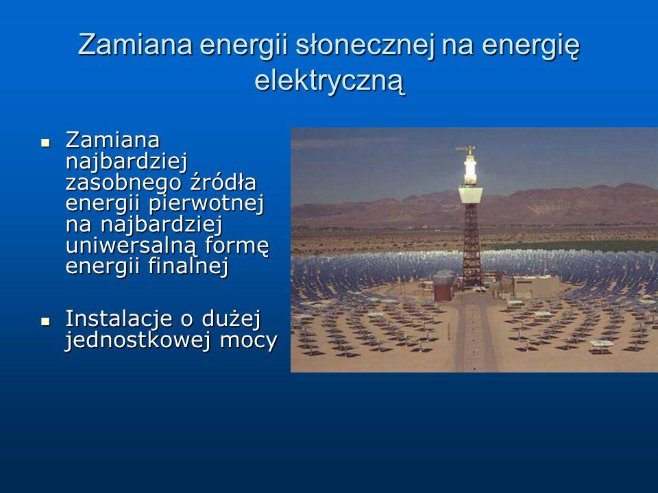 Zjawiska fizyczne: Zamiana energii słonecznej na energię elektryczną Konwersja poprzez energię cieplną: Absorpcja promieniowania słonecznego a następnie zamiana ciepła na energię elektryczną Konwersja poprzez energię cieplną: Absorpcja promieniowania słonecznego a następnie zamiana ciepła na energię elektryczną Generator termoelektronowy: Termoemisja czyli emisja elektronów w wysokich temperaturach Generator termoelektronowy: Termoemisja czyli emisja elektronów w wysokich temperaturach Zjawisko termoelektryczne: Złącza dwóch różnych przewodników w różnych temperaturach Zjawisko termoelektryczne: Złącza dwóch różnych przewodników w różnych temperaturach Efekt fotoelektryczny Efekt fotoelektryczny Konwersja fotowoltaniczna: Wewnętrzny efekt fotoelektryczny w diodzie półprzewodnikowej Konwersja fotowoltaniczna: Wewnętrzny efekt fotoelektryczny w diodzie półprzewodnikowej