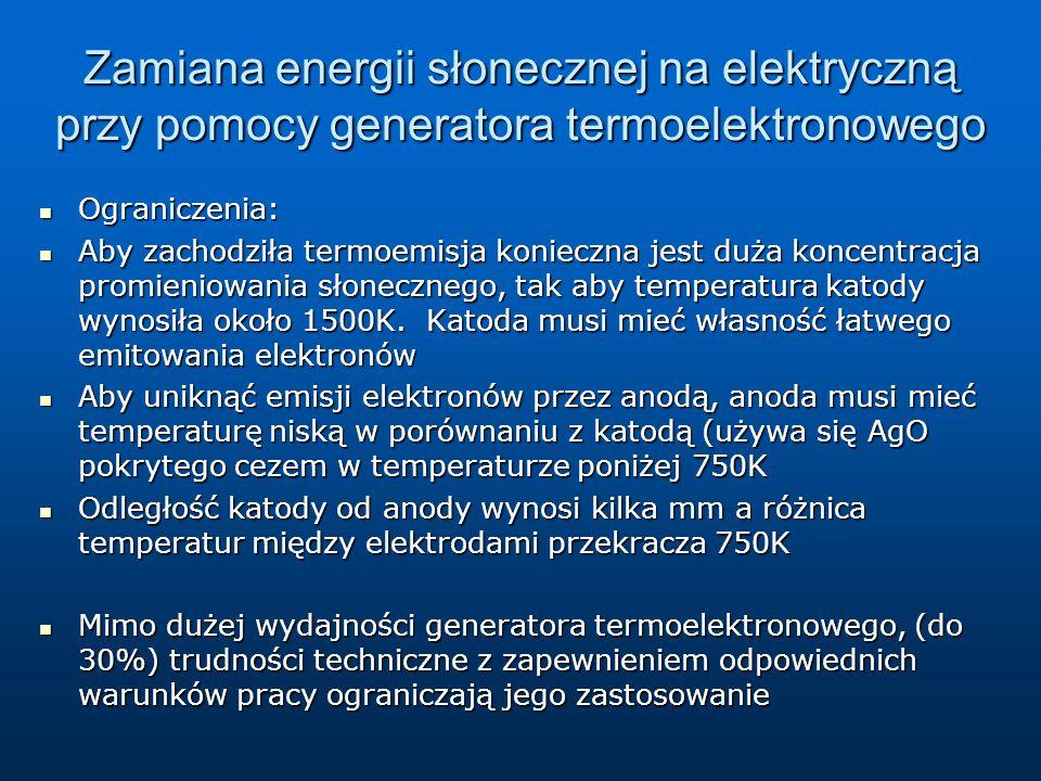 Zamiana energii słonecznej na elektryczną przy pomocy generatora termoelektronowego Ograniczenia: Ograniczenia: Aby zachodziła termoemisja konieczna j