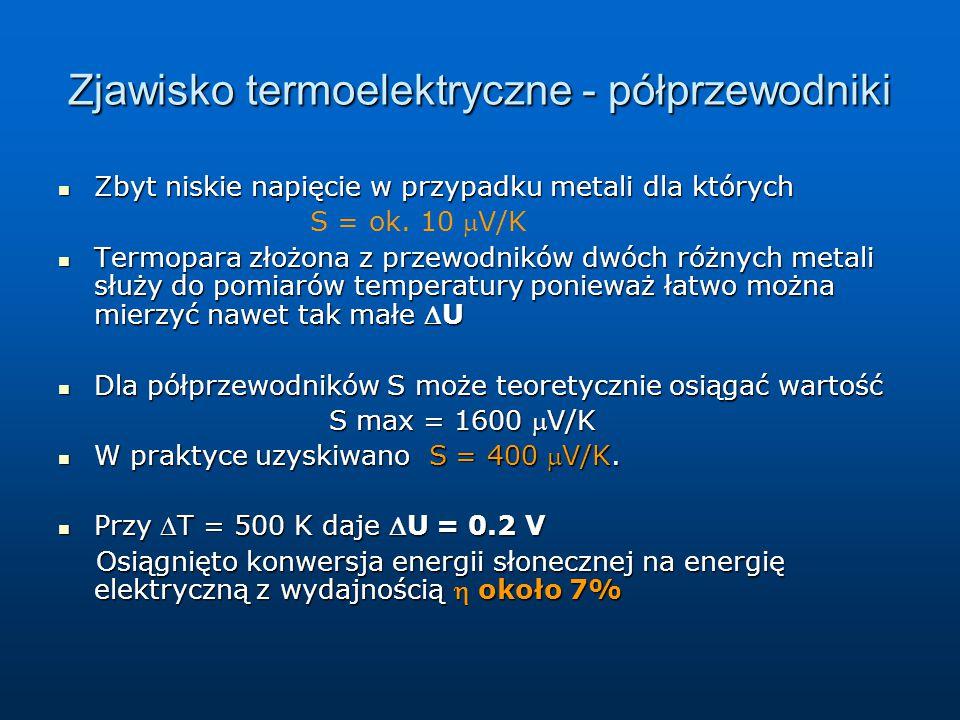 Zjawisko termoelektryczne - półprzewodniki Zbyt niskie napięcie w przypadku metali dla których Zbyt niskie napięcie w przypadku metali dla których S =