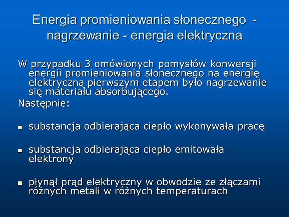 Energia promieniowania słonecznego - nagrzewanie - energia elektryczna W przypadku 3 omówionych pomysłów konwersji energii promieniowania słonecznego