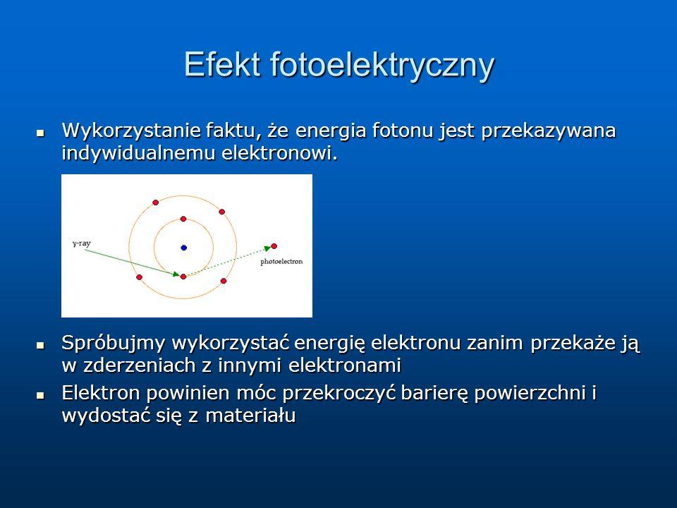 Efekt fotoelektryczny Wykorzystanie faktu, że energia fotonu jest przekazywana indywidualnemu elektronowi. Wykorzystanie faktu, że energia fotonu jest