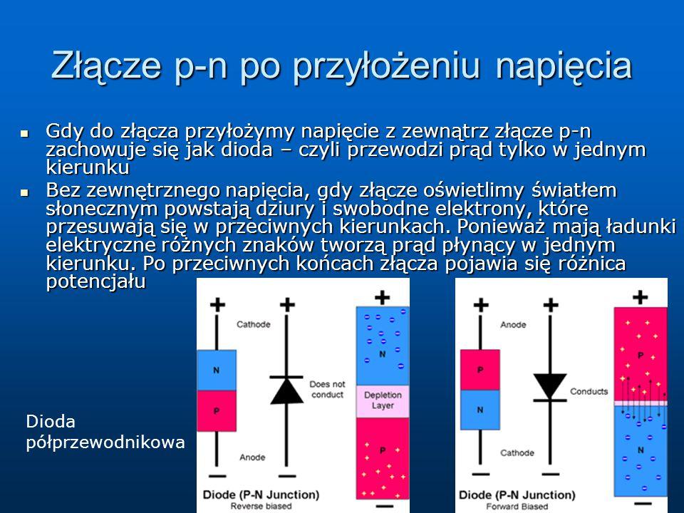 Złącze p-n po przyłożeniu napięcia Gdy do złącza przyłożymy napięcie z zewnątrz złącze p-n zachowuje się jak dioda – czyli przewodzi prąd tylko w jedn
